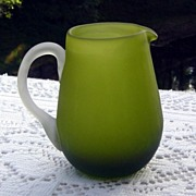 Hand Blown Green Satin Glass Pitcher