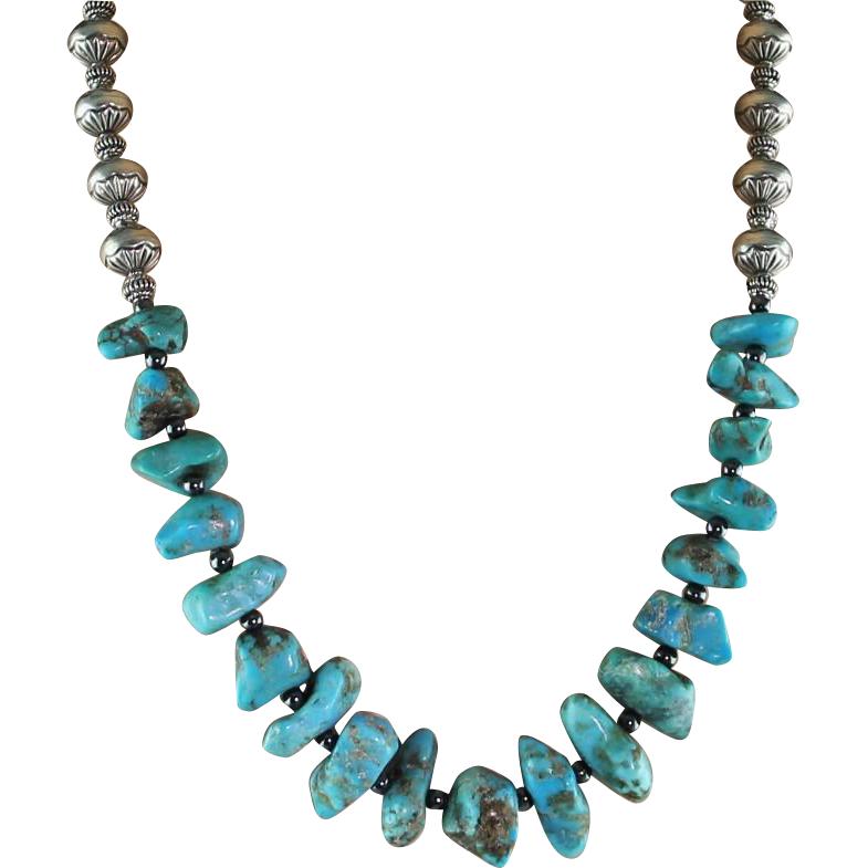 Turquoise Nugget and Sterling Beaded Necklace