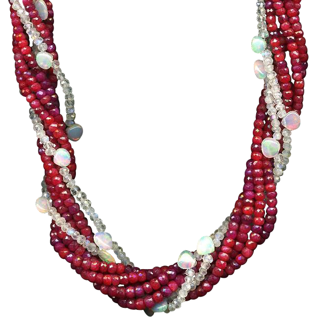 Beau Rouge- Lovely Ruby, Moonstone and Opal Necklace