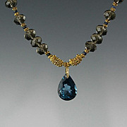 Where there is Smoke there is Fire II...Blue Topaz Gemstone, Natural Sapphire Gemstones and Smoky Quartz Necklace