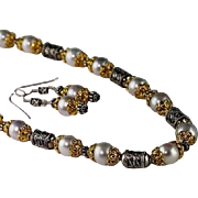 Shimmering Silver/Gray Cultured Freshwater Pearl and Gold Vermeil and Sterling Necklace with Matching Earrings