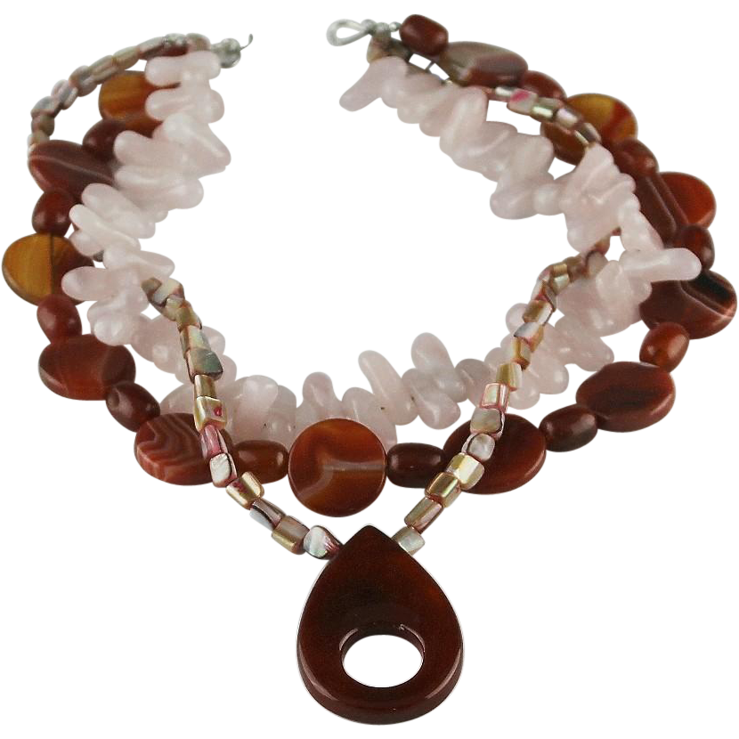 Chunky Agate and Quartz Necklace