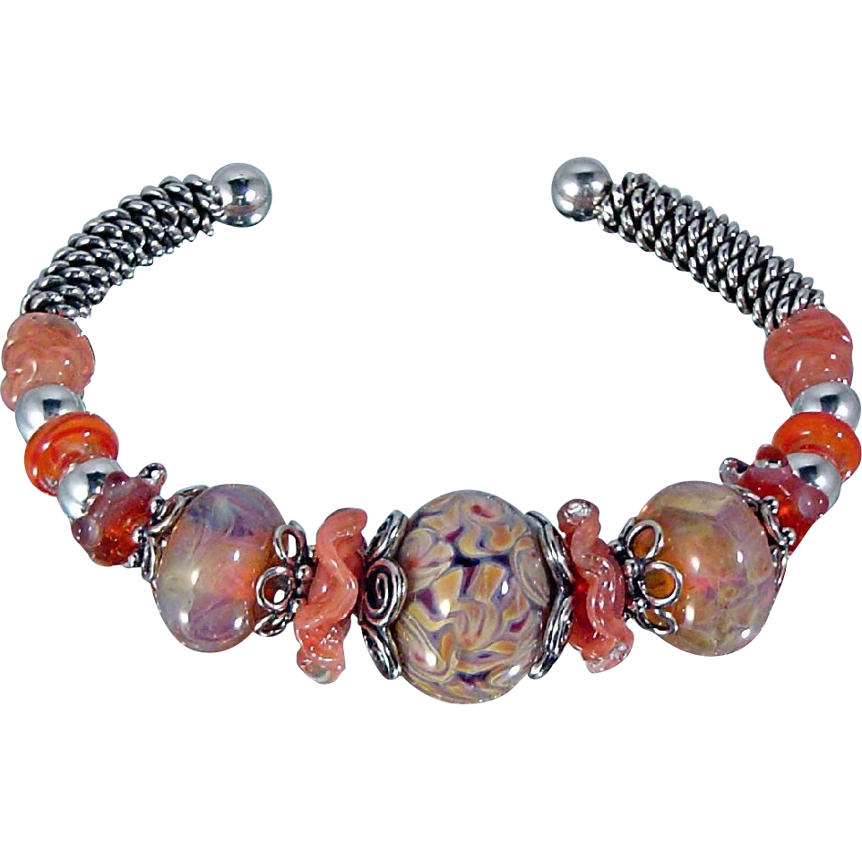 Sweet Peach Boro Bead Bracelet