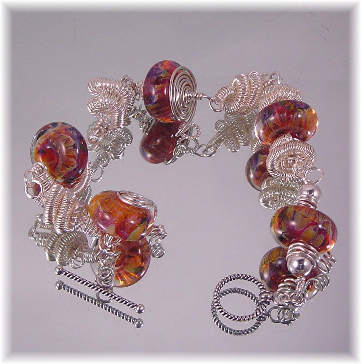 Hand Coiled Sterling Artisan Lampwork Bead Bracelet