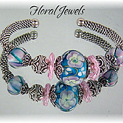 Floral Jewels Sterling and Lampwork Bead Bracelet