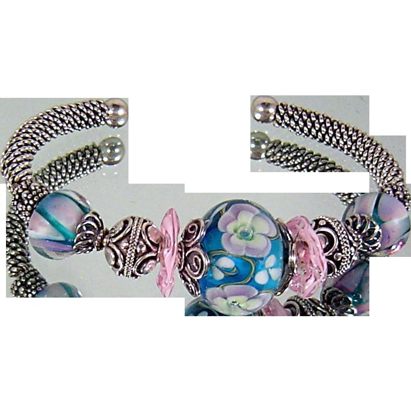 Floral Jewels Sterling and Lampwork Bead Bracelet