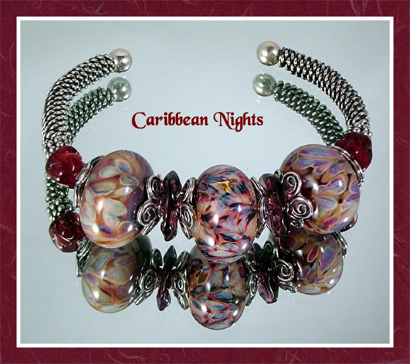 Caribbean Nights Sterling and Lampwork Bead Bracelet