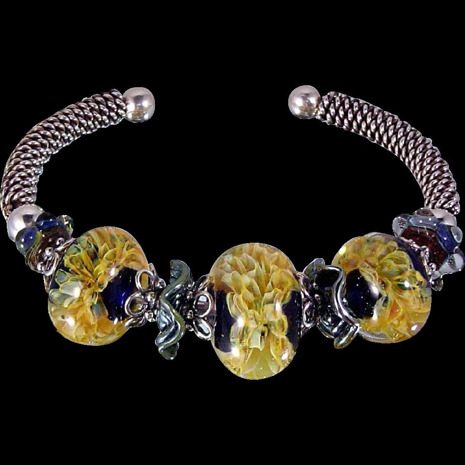 Romance: Sterling Silver and Lampwork Bead Bracelet