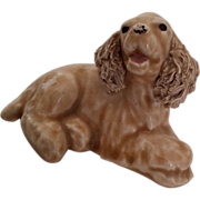Vintage Buff American Cocker Spaniel Puppy Dog Figurine Spaghetti Ears