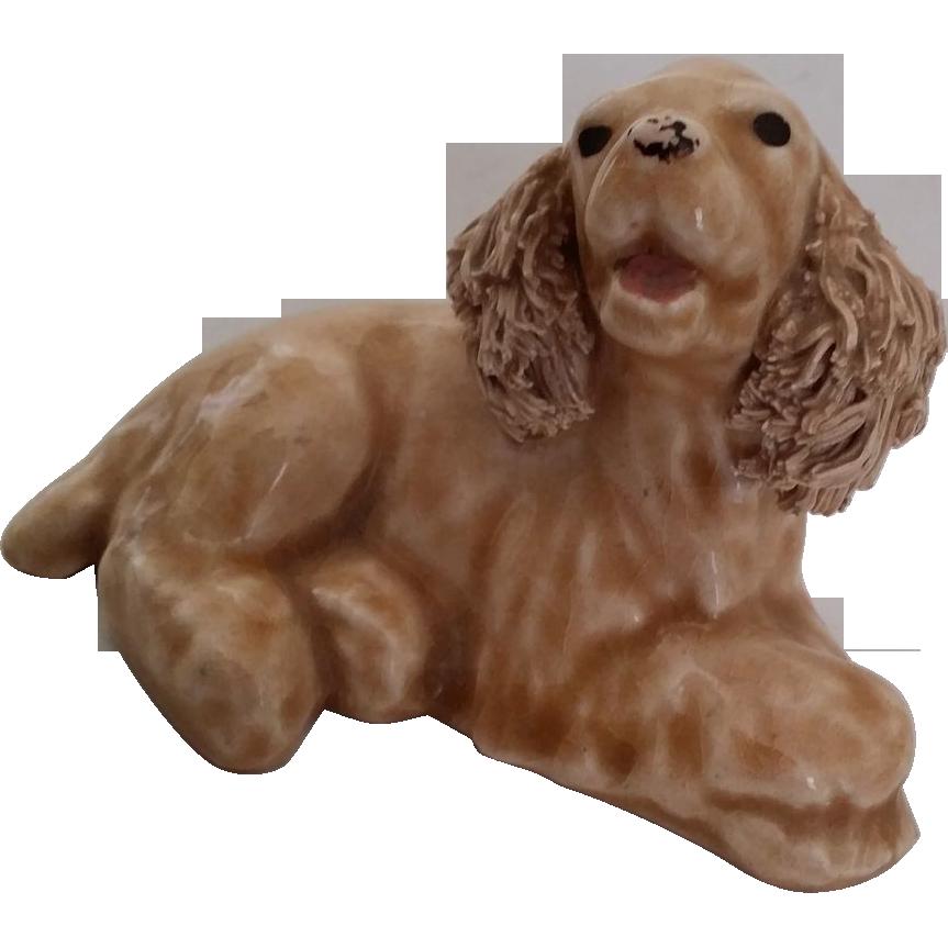 Vintage Buff American Cocker Spaniel Puppy Dog Figurine Spaghetti Ears