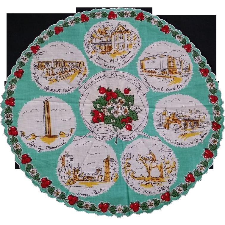 Round Kansas City Missouri Souvenir Handkerchief Hankie