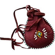 Pouch Purse Medicine Bag Tobacco Pouch Beaded Leather Native American Bag for Child Purse Coins Etc