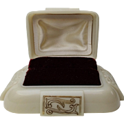 1940s Cream with Burgundy Velvet Interior Dennison USA Ring Box D121879