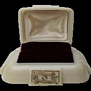 1940s Cream with Burgundy Velvet Interior Dennison USA Ring Box D121879