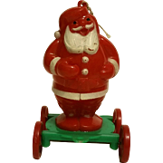 Rosbro Rosen Plastics Santa Clause on Wheels 1950s Wheeled Cart Christmas Tree Ornament Pull Toy or for Hanging