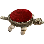 Florenza Turtle Pincushion Nodder Head and Tail Antiqued White Finish with Red Velvet Pin Cushion