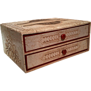 2 Drawer Jewelry Box Faux Embossed Leather Textured Paper Over Cardboard Art Nouveau to Art Deco Transitional Design