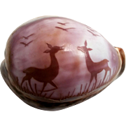Carved Shell Cameo Carving from Purple Top Cowrie Shell Cameo Carved Pair of Fawns and Flock of Birds Carved in Top