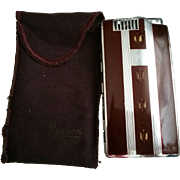 Ronson Pal Cigarette Lighter and Case Combo with Brown Finish and Original Cloth Protective Sleeve