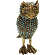 Tibetan Turquoise and Coral Owl Figural