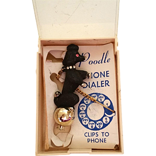 Standing Poodle Vintage Rotary Dial Phone Dialer in Original Packaging