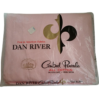 Pink Percale Double Bed Dan River Fitted Bottom Sheet NIP NRFP