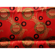 4 yards SE Asian Motif Red Satin Print Fabric 59 inches Wide