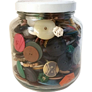 Large Jar Full of Vintage Buttons Larger Sizes Celluloid Plastics and More