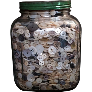 Nearly 11 Pounds of Mostly Mother of Pearl MOP Buttons in Square Hoosier Jar Jadeite Green Lid