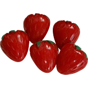 Carved Bakelite Strawberry Buttons 5 Realistic with Metal Shanks