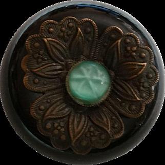 Black Bakelite Jewel and Metal Button Large