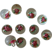 Set of 11 Paperweight Buttons Pink Floral over White with Mica