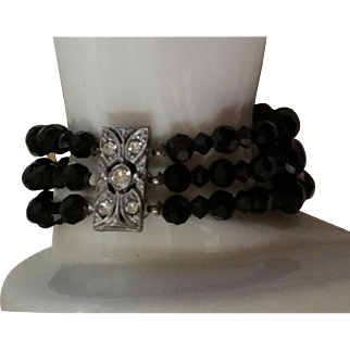 Jet Black 3 Strand Faceted Glass Bead Bracelet Rhinestone Clasp