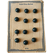 Blue Green Bakelite Buttons on Original Card Ball Shaped 12 pieces
