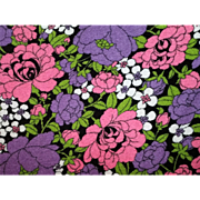Mid Century Flower Power Terry Cloth Fabric Big Bold Floral