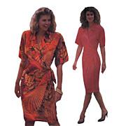 Linda Allard for Ellen Tracy Wrap Dress Vintage Sewing Pattern Butterick 4017 Size 6 – 8 – 10 ©1989