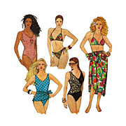 Simplicity 9750 Swimwear Bathing Suits Bikini Tank Wrap Style Pareo ©1990 Size D5 for sizes 4 through 12