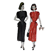 Dramatic Swag  detail McCall 7104 Dress Pattern 32 Bust 1947 Gathered Shoulder Modified Peplum