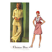 1970s Christian Dior Vogue 2717 Paris Original Pattern 36 Bust Sz14