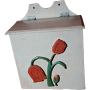 Vintage Hand Made All Wood Tulip Mail Box From Old Fruit Box Hand Painted