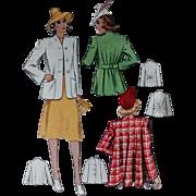 McCall 3619 Swing Coat Sewing Pattern 1940
