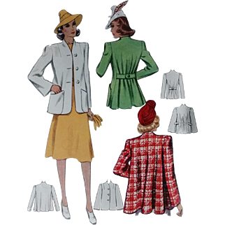 McCall 3619 Swing Coat Sewing Pattern 1940