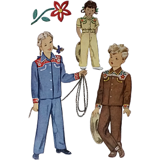 McCall Child's Western Suit Shirt Pants Boy or Girl 1940s
