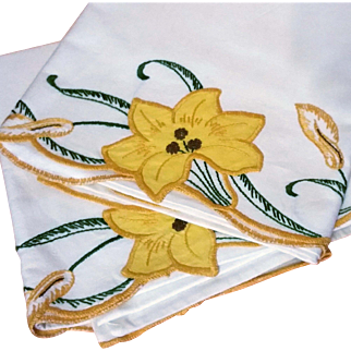Appliqued and Embroidered Pillow Cases