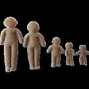 Vintage Family of 5 Hand Stitched Dolls Mom Dad Three Children