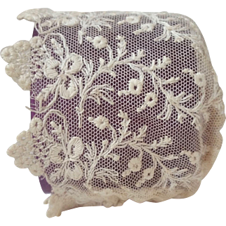 Vintage Embroidered on Net Lace Baby Doll Cap