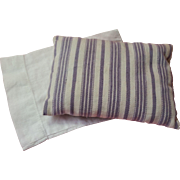 Doll Size Lavender Stripe Ticking With Percale Pillow Case