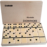 Vintage Puremco Marblelike Dominoes Double 6 Standard Size 6x6