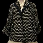 Halldon Ltd Navy and Cream Wool Swing Coat with Deep Cuff Sleeves