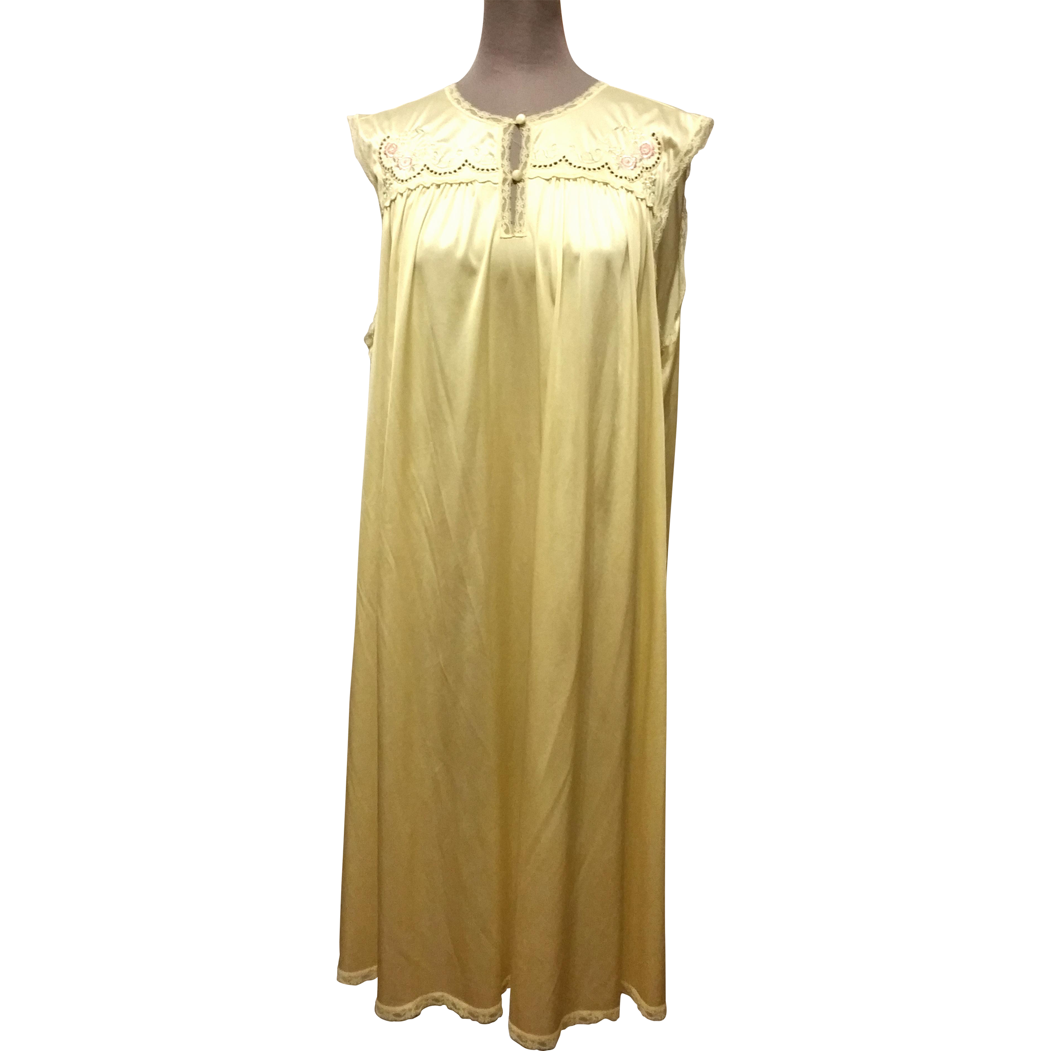 Vintage Vanity Fair Nightgown Butter Yellow with Lace ...